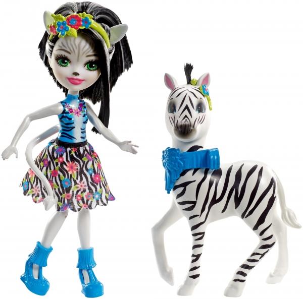 Enchantimals: Lalka Zelena Zebra + duże zwierzę Zebra (FKY72/FKY75)