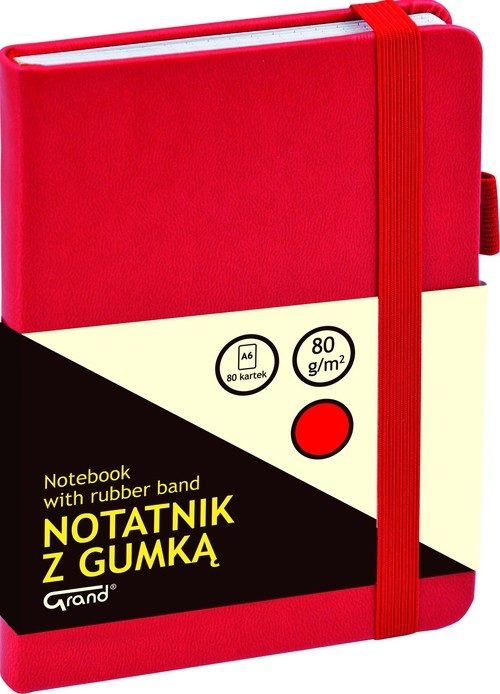 Notatnik A6 Grand z gumką 80 kartek czerwony
