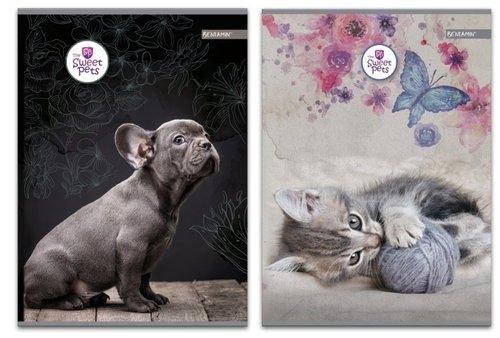 Zeszyt A5 w kratkę 60 kartek The Sweet Pets 5 sztuk