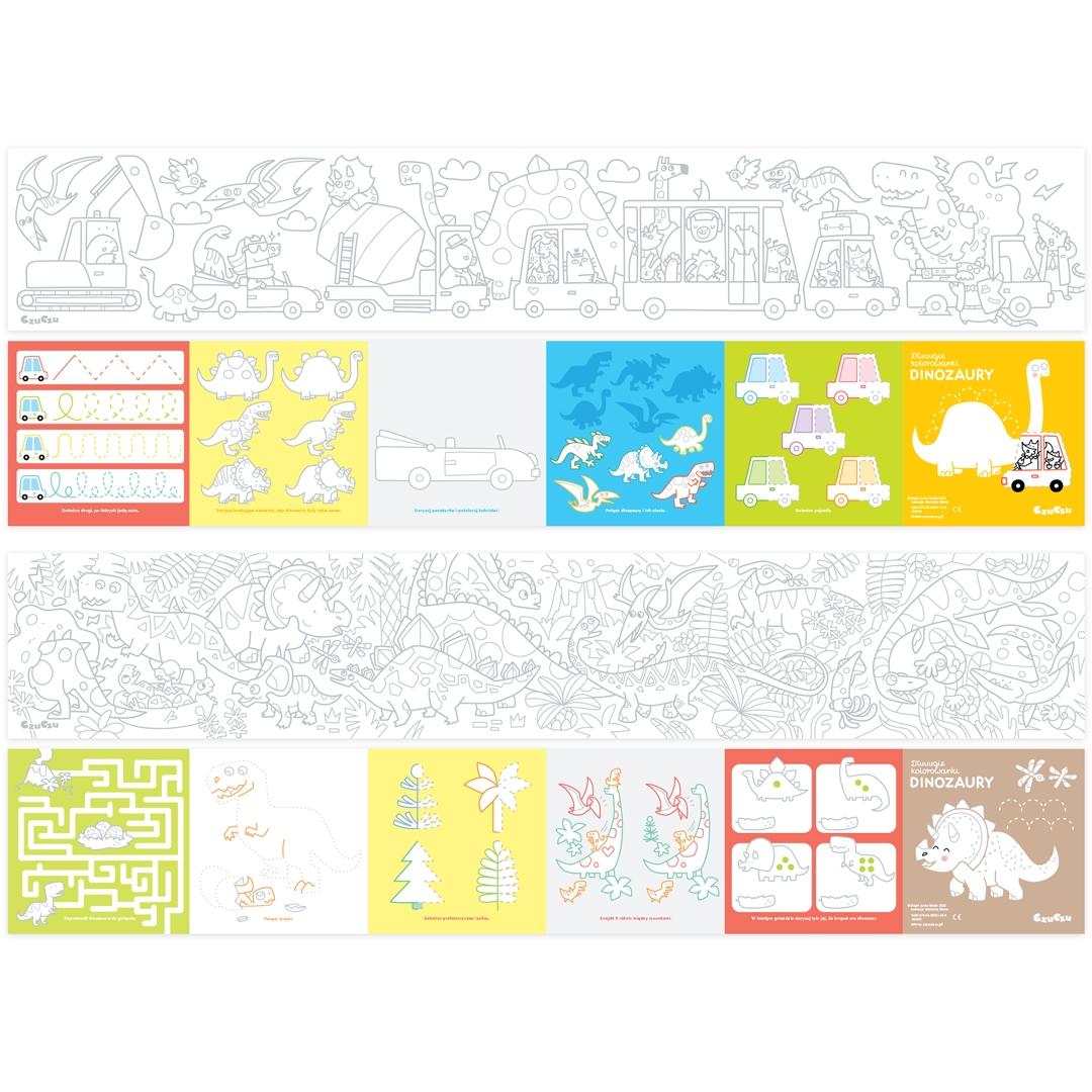 CzuCzu: Zestaw 3 rysowanek - kolorowanki Dinozaury + 2x Szlaczki