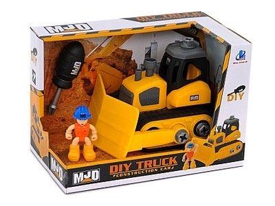 Samochód Adar spychacz, do skręcania, z figurką robotnika i śrubokrętem (493018)
