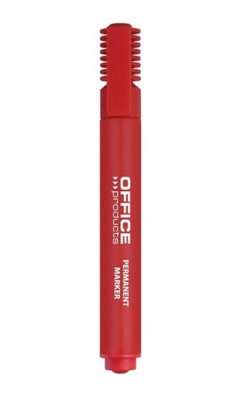 Marker permanentny OFFICE PRODUCTS, ścięty, 1-5mm (linia), czerwony 12 sztuk