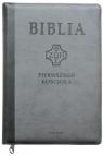 Biblia Pierwszego Kościoła szara z paginatorami i suwakiem