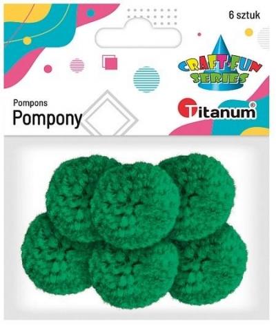 Pompony włóczkowe 3cm zielone 6szt.