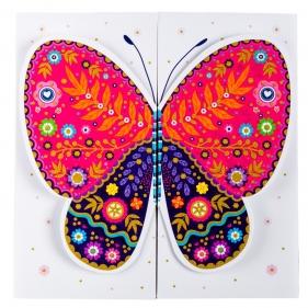 Karnet rozkładany 15x15cm - Motyl