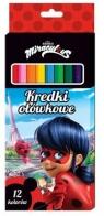 Kredki ołówkowe 12 kolorów. Biedronka i Czarny Kot