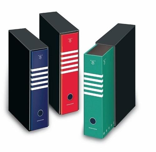 Segregator z pudełkiem A4 Pigna Monocromo 2 zaczepy z dźwignią mix kolorów