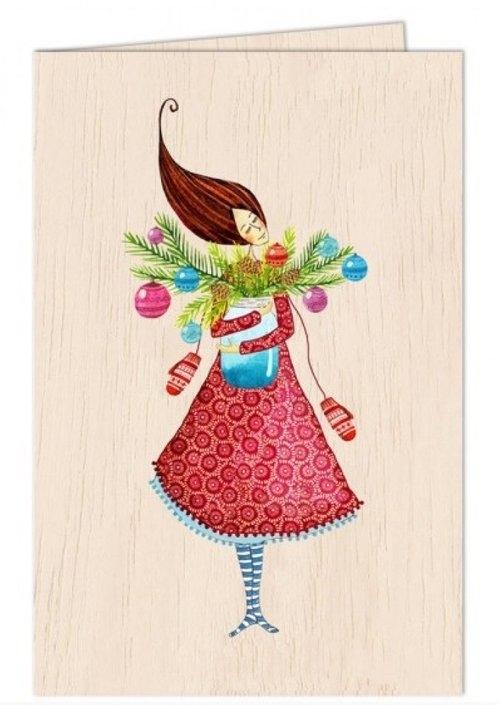 Karnet drewniany C6 + koperta Święta Kobieta ze słoikiem