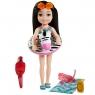 Barbie Dreamhouse Adventures: Chelsea - Wakacyjna lalka w czarnych włosach + akcesoria (GRT80/GRT83)