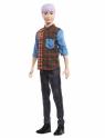 Barbie Fashionistas: Lalka stylowy Ken - koszula w kratę/jasnofioletowe włosy