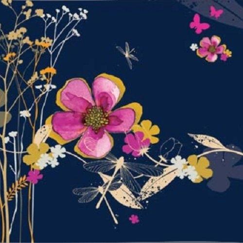 Karnet Swarovski kwadrat Kwiaty granatowy