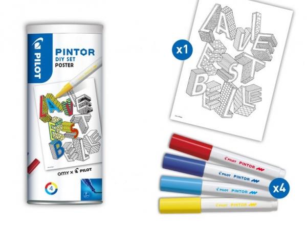 Marker Pintor F SET Y/L/LB/R + plakat