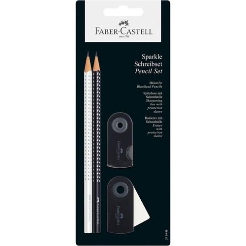 Zestaw Sparkle&Sleeve 2 ołówki z gumką i temperówką czarno-białe