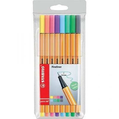 Cienkopis Point 88 pastel 8 kolorów etui Stabilo