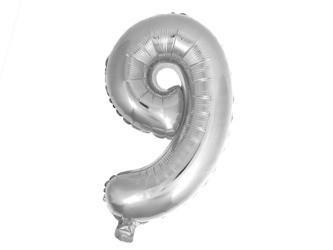 Balon Cyfra NR.9 srebrny 45,5CM