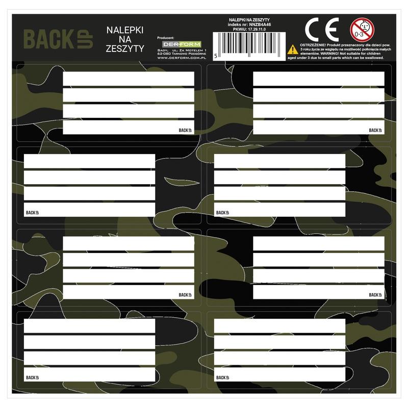 Nalepki na zeszyty BackUp Moro (NNZB4A46) (OUTLET - USZKODZENIE)