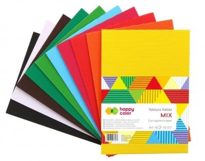 Tektura falista A4/10 Mix 10 kolorów HAPPY COLOR