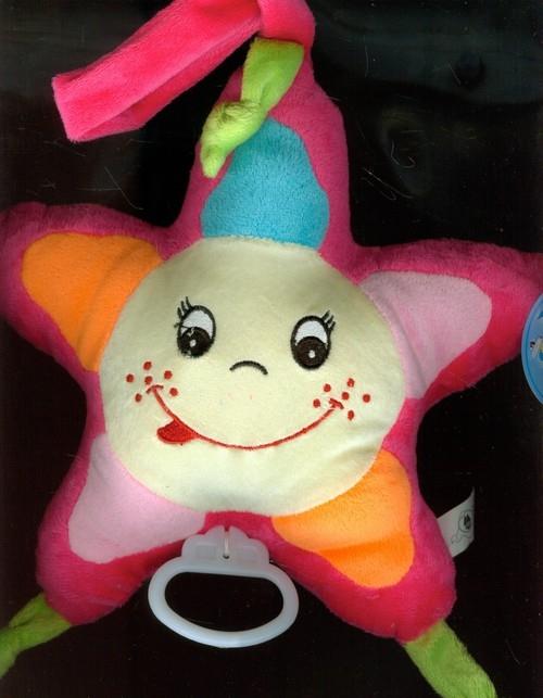 Pluszowa gwiazdka z dźwiękiem różowa