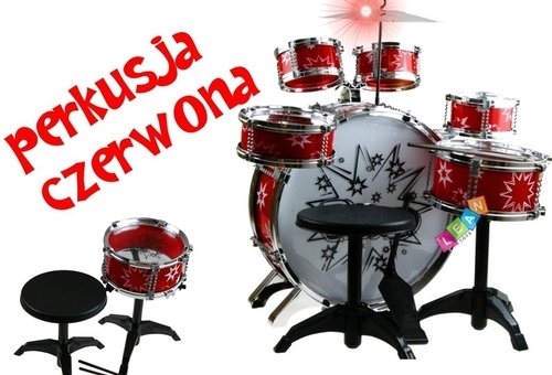 Duża 6- bębnowa perkusja czerwona
