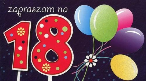 Zaproszenia urodzinowe 18-tka balony 5 sztuk