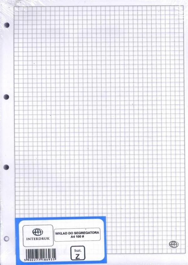 Wkład do segregatora Interdruk A4 100 kartek