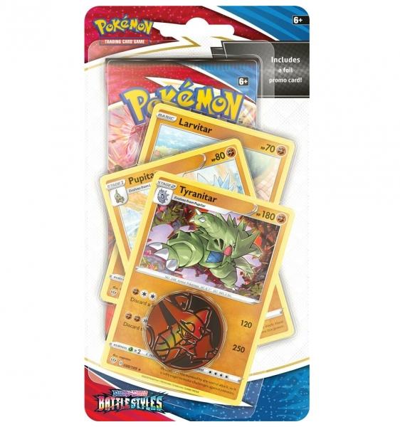 Pokemon TCG: Sword & Shield. Battle Styles - Premium Checklane Blister - Tyranitar, Pupitar, Larvitar MIX (176-80826)