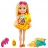 Barbie Dreamhouse Adventures: Chelsea - Wakacyjna lalka w blond włosach + akcesoria (GRT80/GRT81)