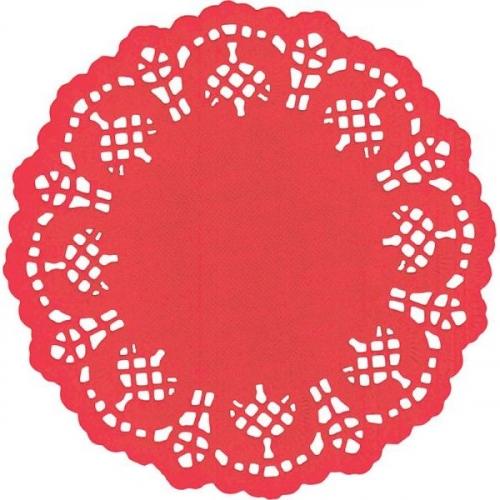 Serwetki papierowe okrągłe 11,5cm/35 szt. - czerwone (414548)