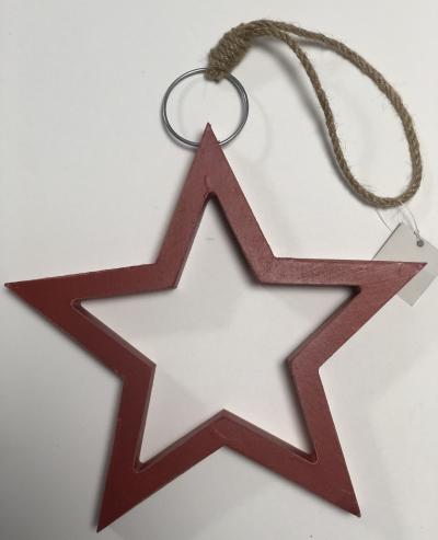 Zawieszka świąteczna drewniana czerwona gwiazda 21cm