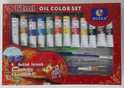 Farby olejne 12kol +pędzle