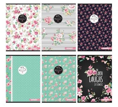 Zeszyt A4 Street Flowers w kratkę 54 kartki 10 sztuk mix