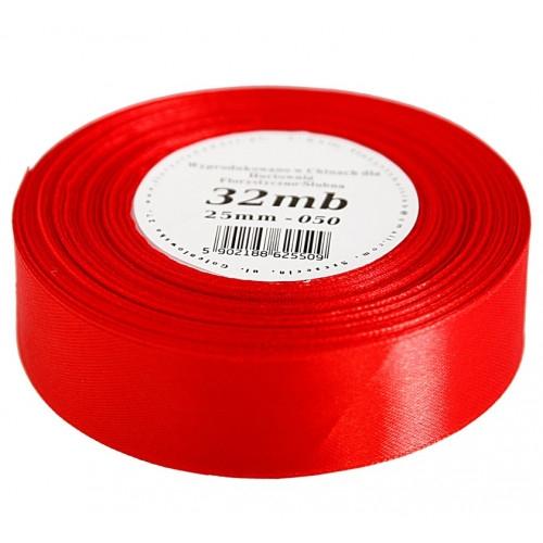 Wstążka satynowa 25mm/32mb czerwona