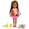 Barbie Dreamhouse Adventures: Chelsea - Wakacyjna lalka z brązowymi włosami + akcesoria (GRT80/GRT82)