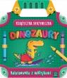 Książeczka-skrzyneczka Dinozaury Kolorowanka z naklejkami
