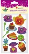 Naklejki piankowe: zestaw kawa + ciasto, mix wzorów, kolorów i rozmiarów (EA125)