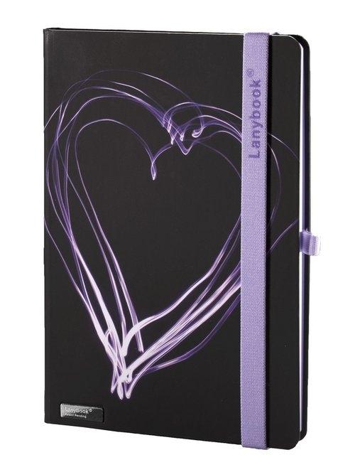 Notes A5 Lanybook Night Light w kratkę czarny z liliową gumką