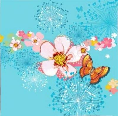 Karnet Swarovski kwadrat CL2908_BL Kwiaty błękitny
