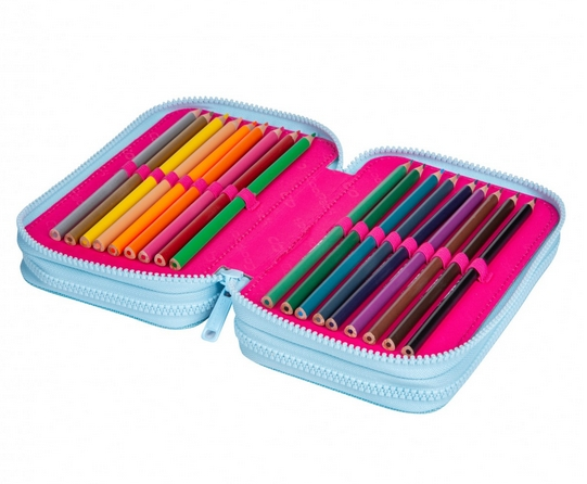 Coolpack Jumper 3, piórnik potrójny - Pink Scribble (D067340)