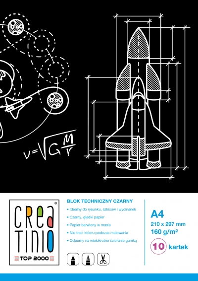 Blok techniczny Creatinio Czarny  A4 10 kartek TOP 2000