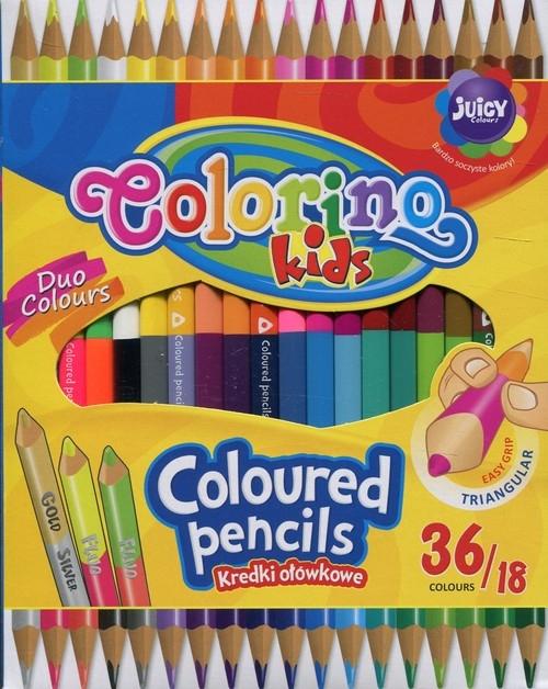 Kredki ołówkowe trójkątne dwukolorowe 18 sztuk/36 kolorów Colorino Kids (68512PTR)