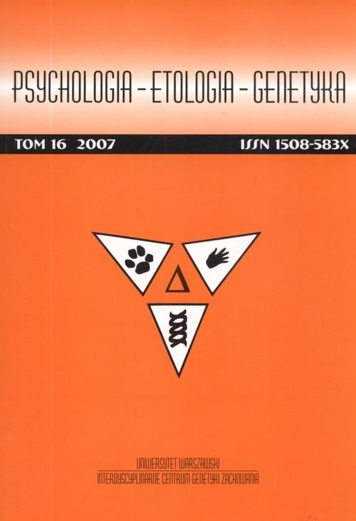 Psychologia etologia genetyka Tom 16/2007