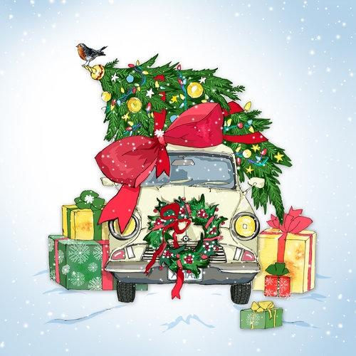 Karnet Swarovski kwadrat Święta Prezenty samochód