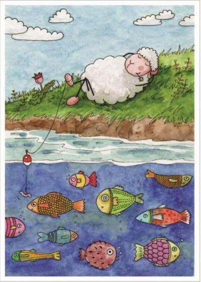 Pocztówka z kolorowanką - Prowadzi mnie nad wody