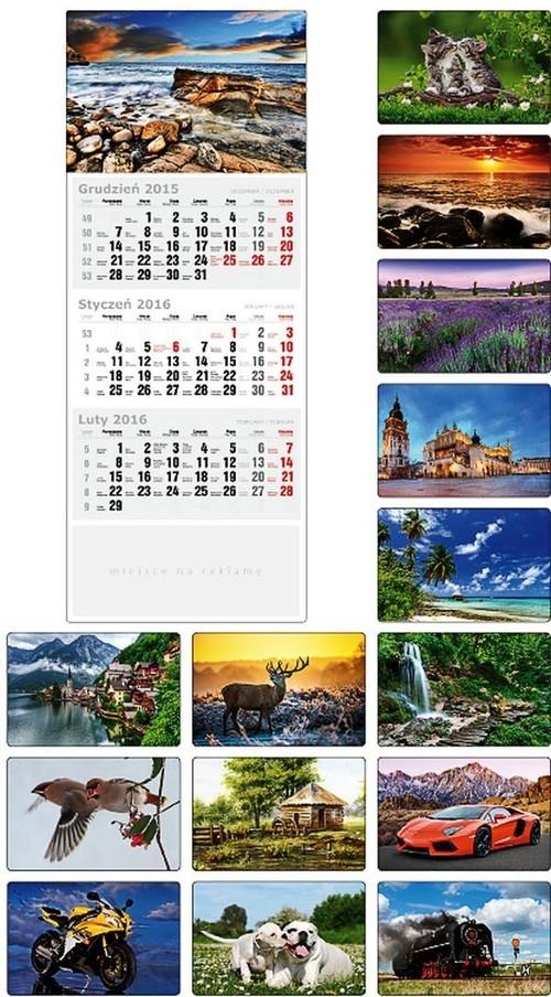 Kalendarz 2016 Trójdzielny Płaski KTT morze