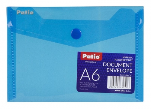 Koperta na dokumenty A6 transparentna - niebieska