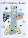 Karnet B6 Komunia Krzyż niebieski