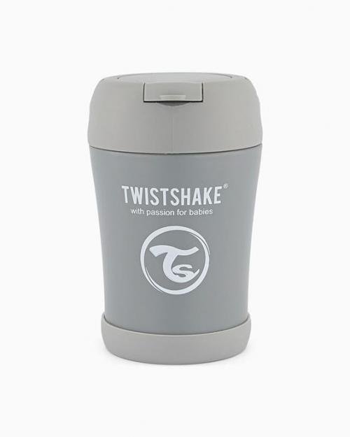 Twistshake Pojemnik Termiczny z Łyżką 350ml Pastelowo Szary