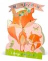 Karnet stojący urodziny liski