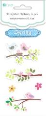 Naklejki brokatowe wiosenne ptaszki 6szt.DPNB-047