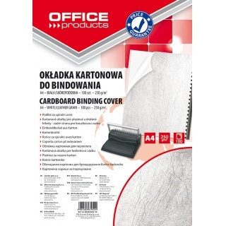 Okładki do bindowania Office Products A4 kartonowa 100 sztuk biała/skóropodobna (Nr 20232525-14)